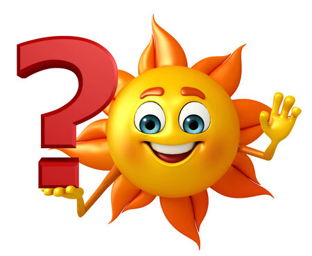 Cartoon Character of sun with question mark Stock Photo - 31255472