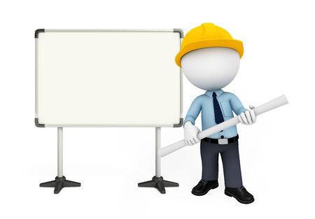 Illustration of service man with display board illustration