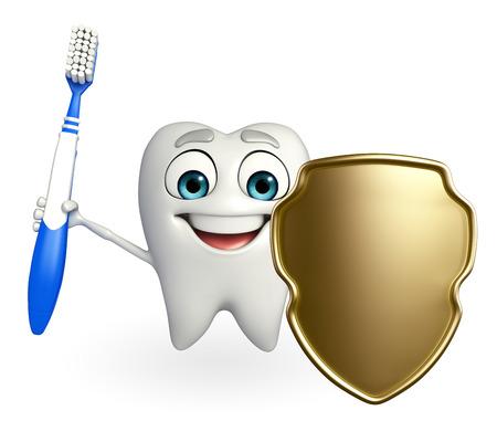 Cartoon character of teeth with shield