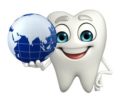 Cartoon character of teeth with globe