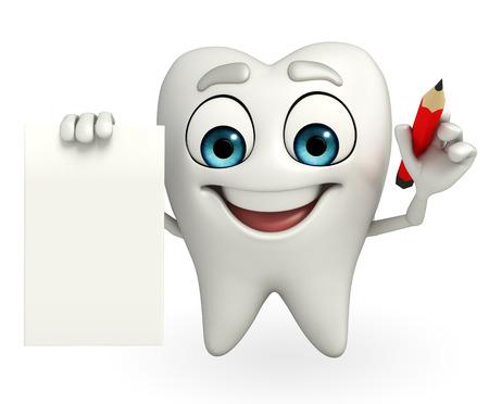 Cartoon character of teeth with pen