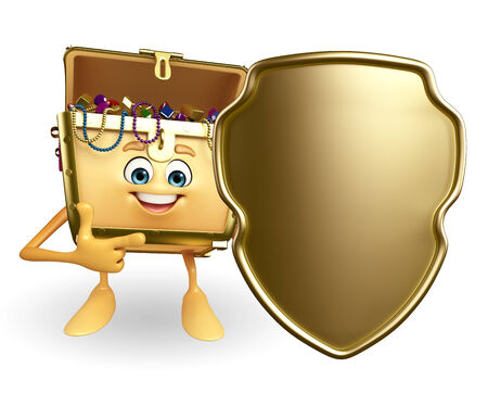 thesaurus: Cartoon Character of Treasure box with shield Stock Photo