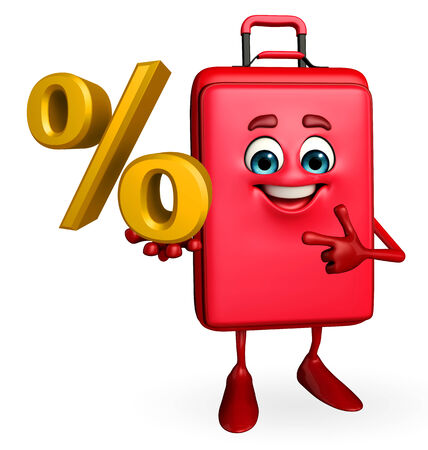 Cartoon Character of Travelling Bag with Percentage photo