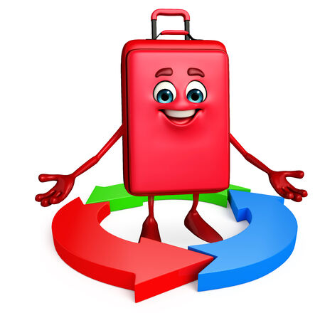 Cartoon Character of Travelling Bag with Arrow photo