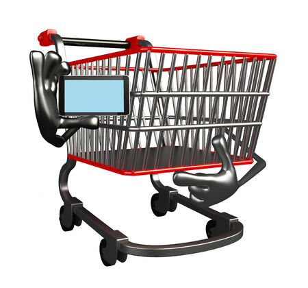 trolly: The cartoon charecter of trolly with mobile Stock Photo