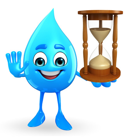 Cartoon Character Of Water Drop with sand clock
