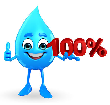 Cartoon Character Of Water Drop with Percentage Stock Photo