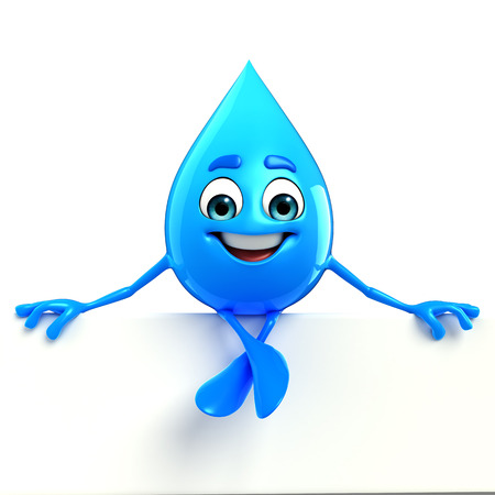 Cartoon Character Of Water Drop with sign
