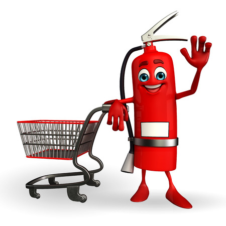 inflammable: Cartoon Character of fire extinguisher with trolley