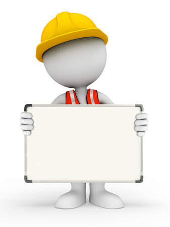 adjustable spanner: Illustration of young worker with display board