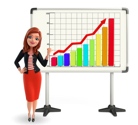 cartoon women: Illustration of corporate lady with business graph