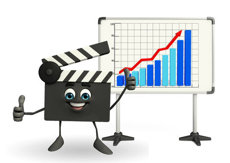 Cartoon Character of Clapper Board with business graph photo