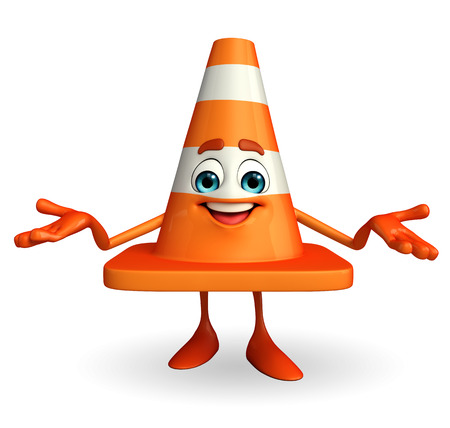 road works ahead: Cartoon Character of Construction cone Stock Photo