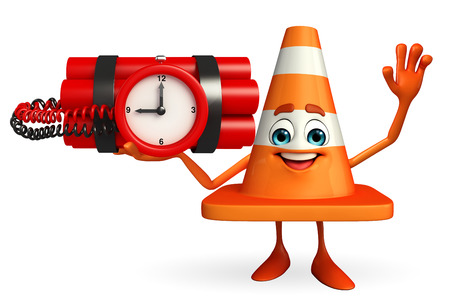 road works ahead: Cartoon Character of Construction cone with time bomb