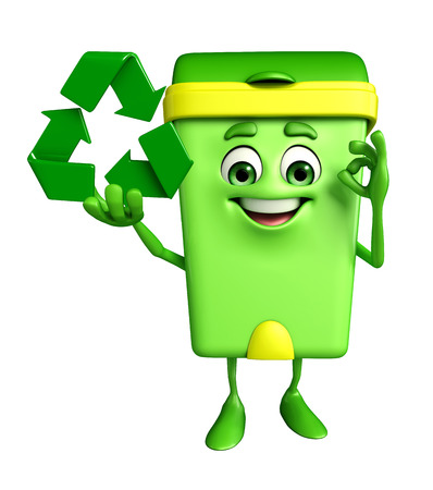 dustbin: Cartoon Character of Dustbin with recycle icon Stock Photo