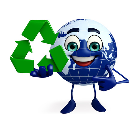 ozone friendly: Cartoon Character of Globe with recycle icon
