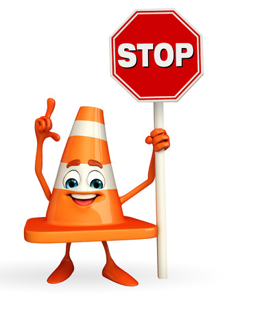 road works ahead: Cartoon Character of Construction cone with stop sign