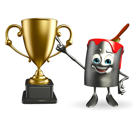 Cartoon Character of paint bucket with trophy photo