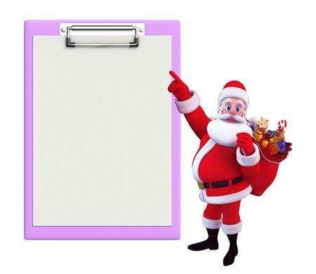 Illustration of santa claus with notepad illustration