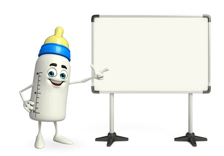 grew: Cartoon Character of baby bottle with display board