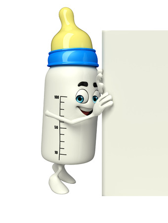 teat: Cartoon Character of baby bottle with sign