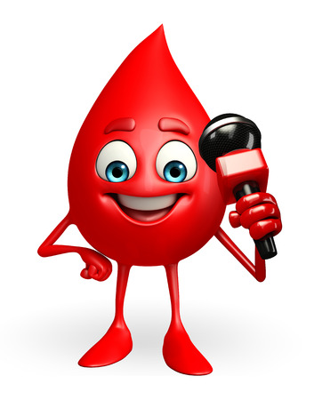 Cartoon Character of Blood Drop with mike Stock Photo
