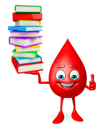 drop of blood: Cartoon Character of Blood Drop with pile of books Stock Photo