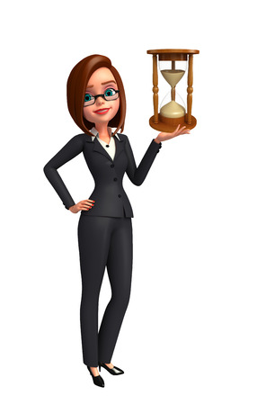 sand clock: Illustrazione di giovane donna di affari con l'orologio della sabbia