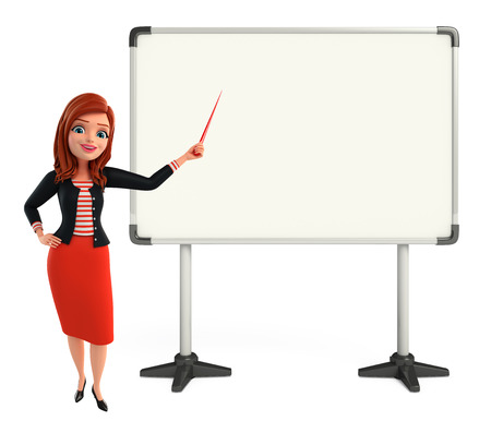 writting: Illustration of corporate lady with display board