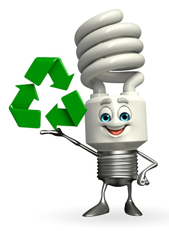 Cartoon Character of CFL with recycle icon photo