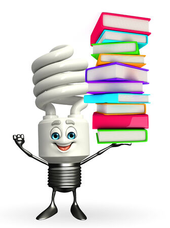 Cartoon Character of CFL with Books pile photo