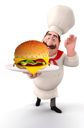 Illustration of young chef with burger  illustration