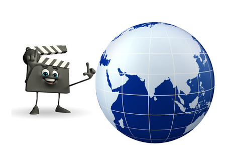 episode: Cartoon Character of Clapper Board with globe
