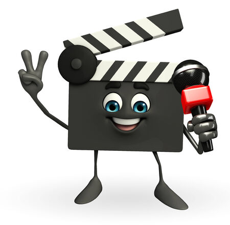 Cartoon Character of Clapper Board with mike photo