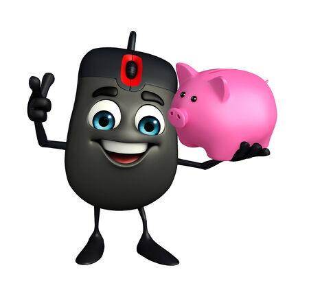 Cartoon Character of Computer Mouse with piggy bank photo
