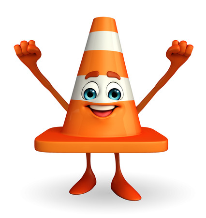 road works ahead: Cartoon Character of Construction cone with happy pose