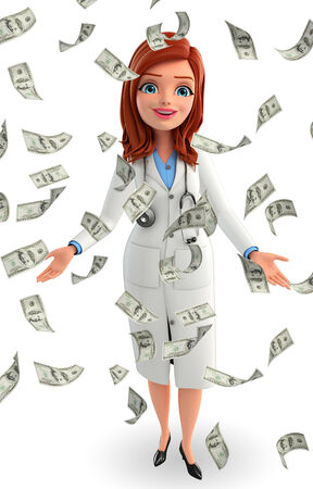 doctor with dollars: Illustration of Young Doctor with dollars