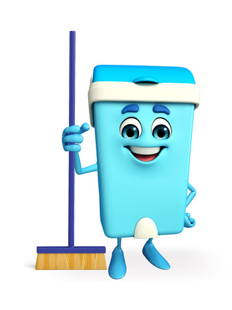 Cartoon Character of Dustbin with cleaning mop photo