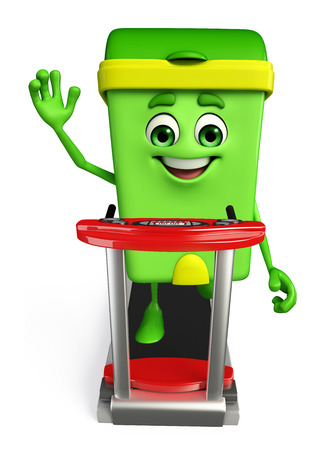 dumpster: Cartoon Character of Dustbin with walking machine