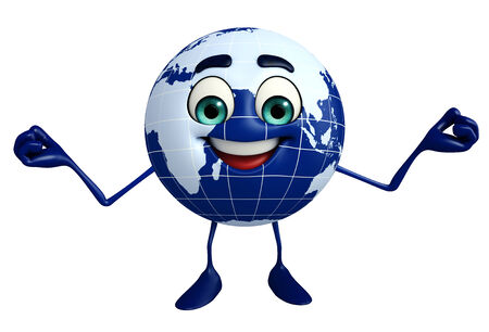 Cartoon Character of Earth is Happy photo