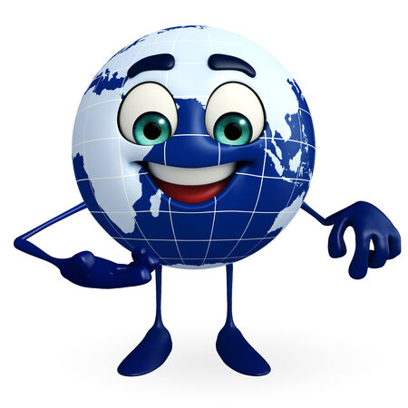 Cartoon Character of Globe with presenting pose photo