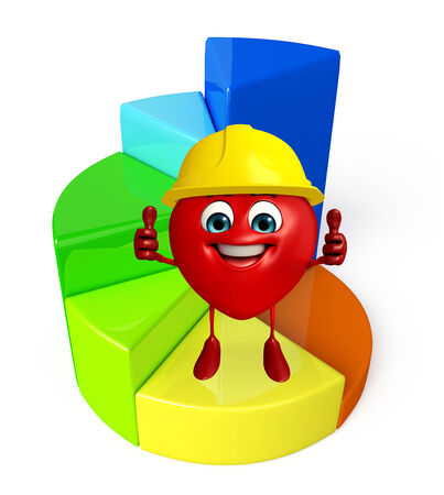 profit celebration: Cartoon Character of heart shape with business graph Stock Photo