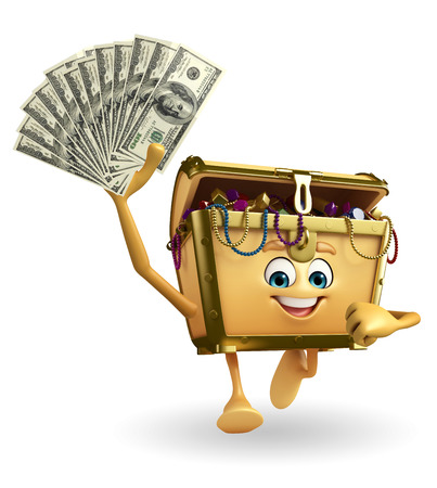 thesaurus: Cartoon Character of Treasure box with dollars Stock Photo
