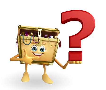 thesaurus: Cartoon Character of Treasure box with question mark sign Stock Photo