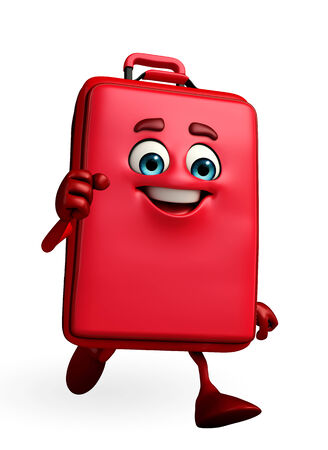 Cartoon Character of Travelling Bag is running photo