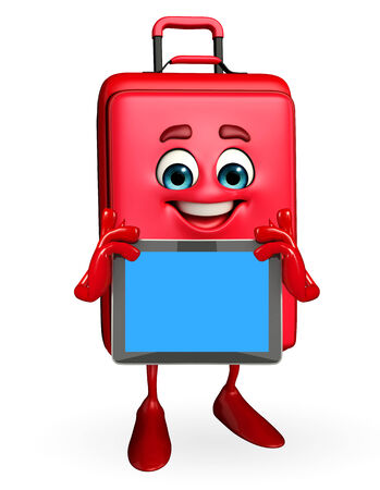 Cartoon Character of Travelling Bag with tab photo
