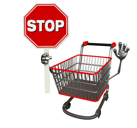 The cartoon charecter of trolly with stop sign photo