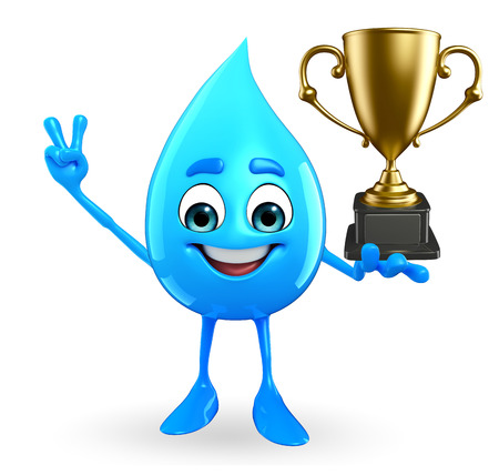 Cartoon Character Of Water Drop with trophy