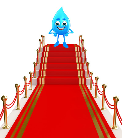 Cartoon Character Of Water Drop with red carpet