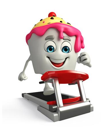 Cartoon Character of Ice Cream with walking machine photo